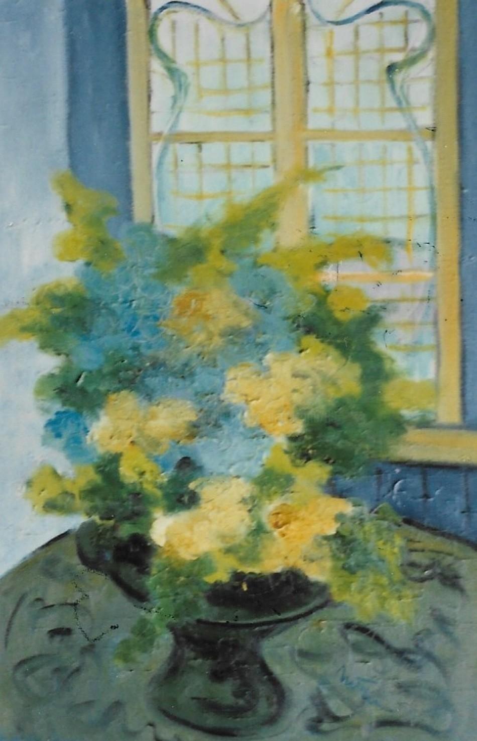 Mario Fanconi - Fiori gialli in vaso celeste