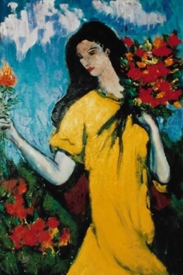 Ragazza con mazzo di fiori